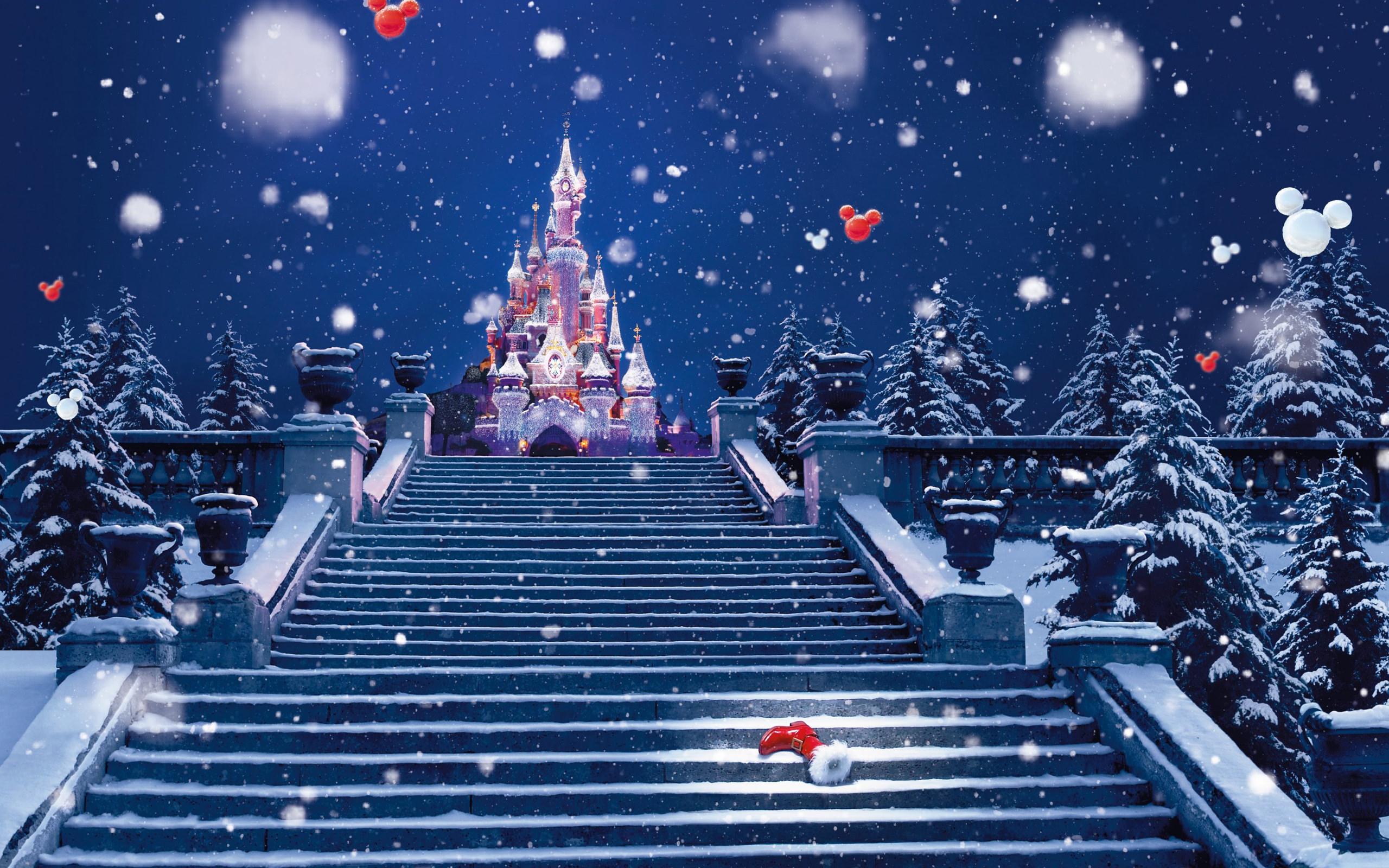 Обои сказочный замок, новогодняя ночь, зима, снег на ...