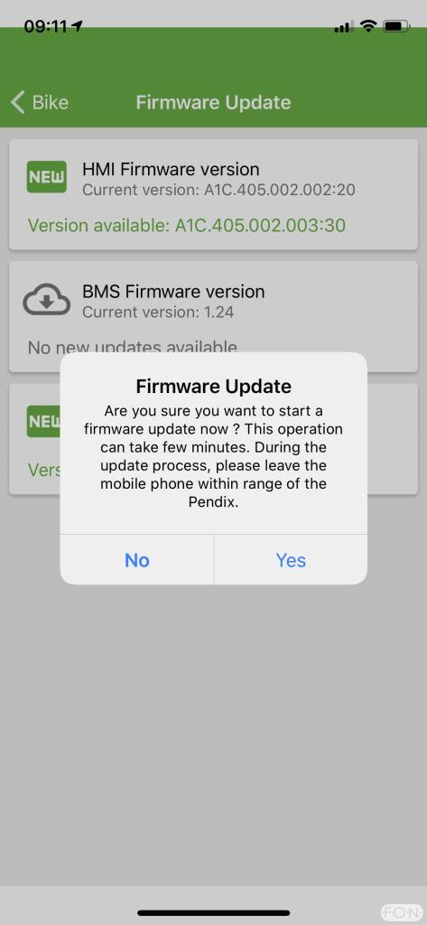 Pendix App Firmware update 001
