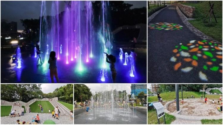 新北土城景點「斬龍山遺址文化公園」噴水池、沙坑、磨石子溜滑梯親子休憩好地方