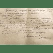 Письмо-благодарность от Толокнеевой Татьяны