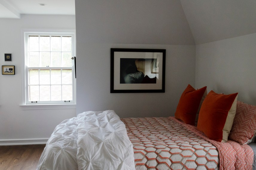 Master bedroom; bed linens from West Elm