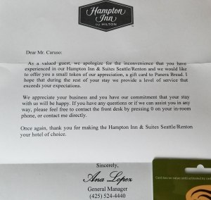 Hampton Inn Renton Wa Excellent Customer Service