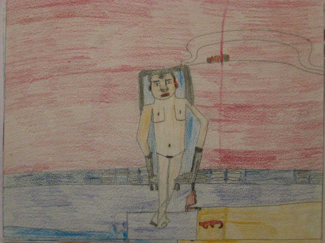 Alexis Lippstreu, Sans titre, nd, crayons de couleurs sur papier, 55 x 73 cm