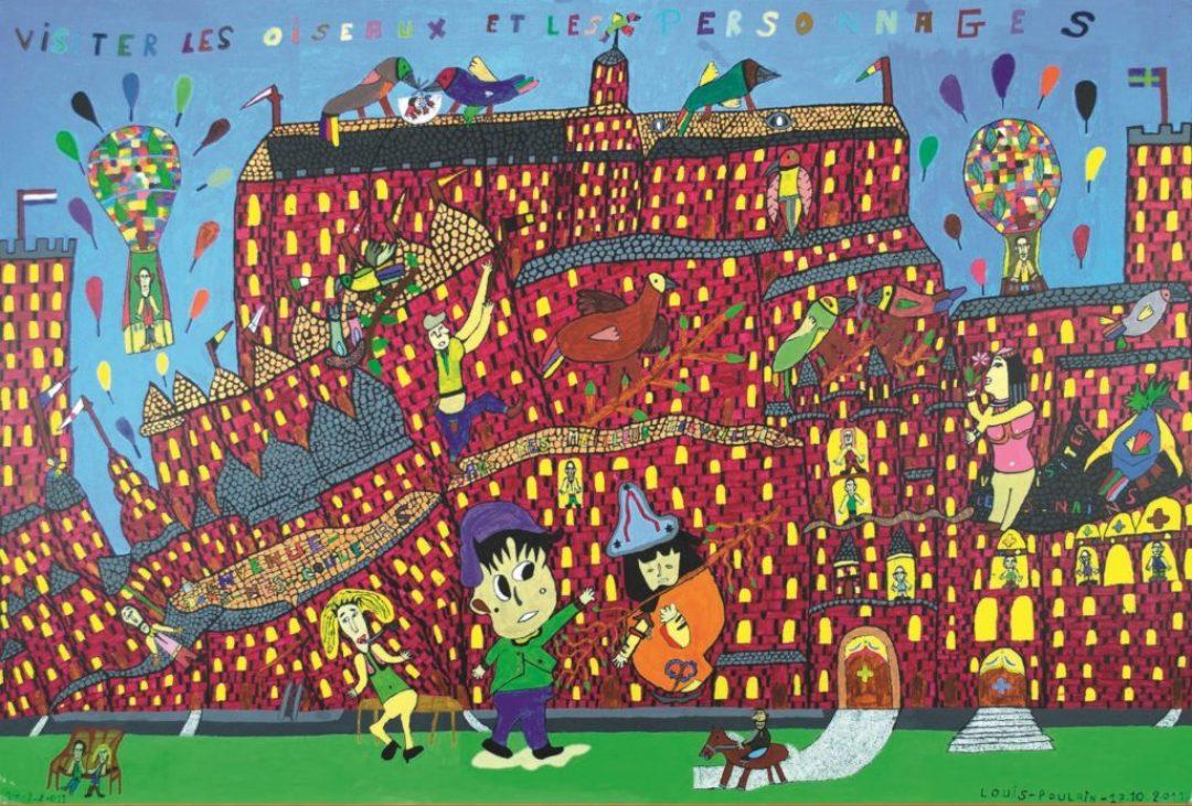 Louis Poulain, sans titre (Visiter les oiseaux et les personnages), 2011, peinture acrylique sur carton, 80 x 120 cm
