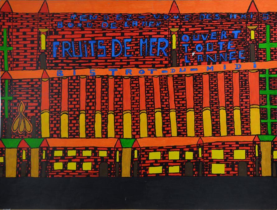 Louis Poulain, sans titre (Rendez-vous des amis - bord de la mer), nd, peinture acrylique sur carton, 55 x 73 cm