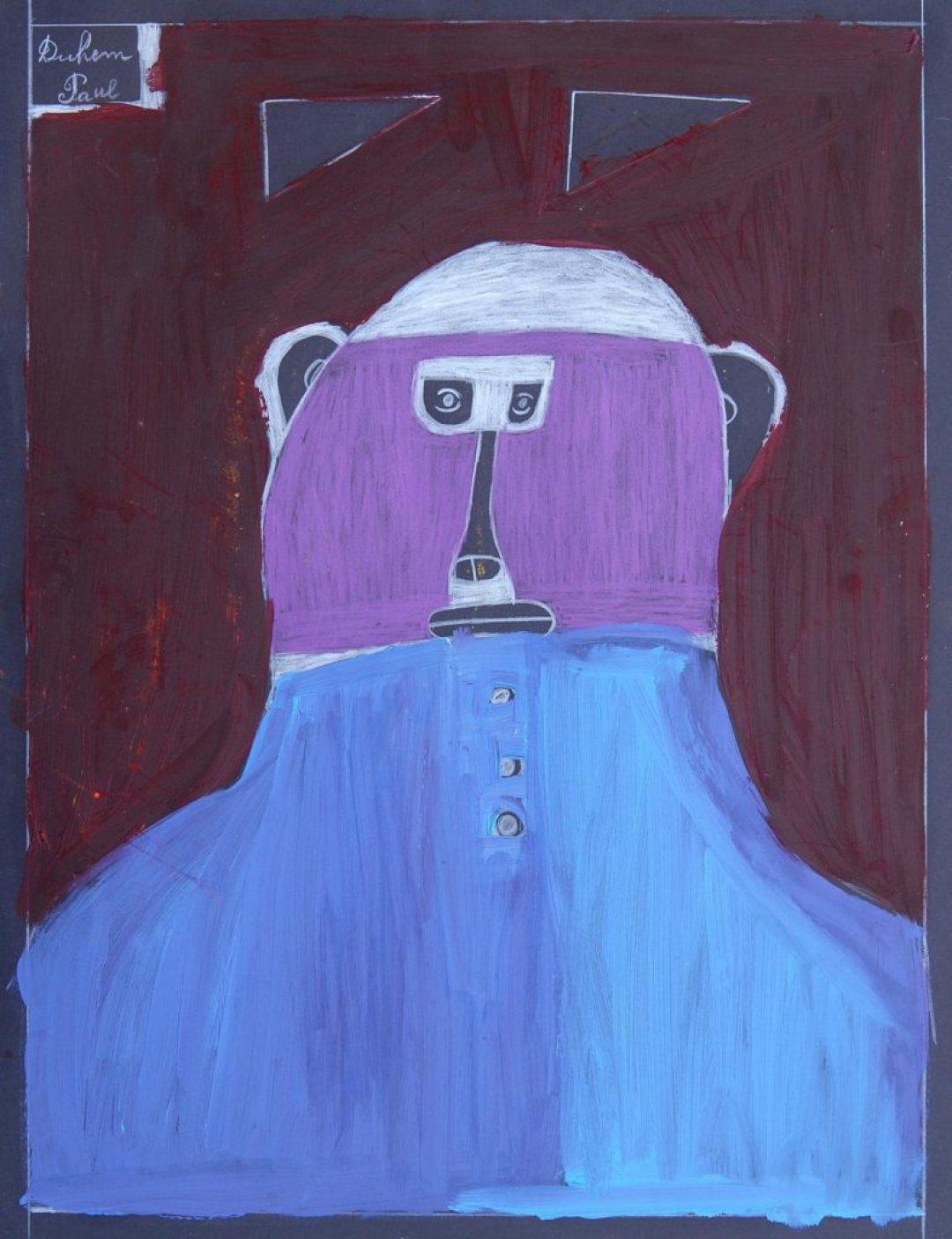 Paul Duhem, sans titre, 1999, crayon blanc, pastel gras et peinture à l'huile sur papier, 65 x 50 cm