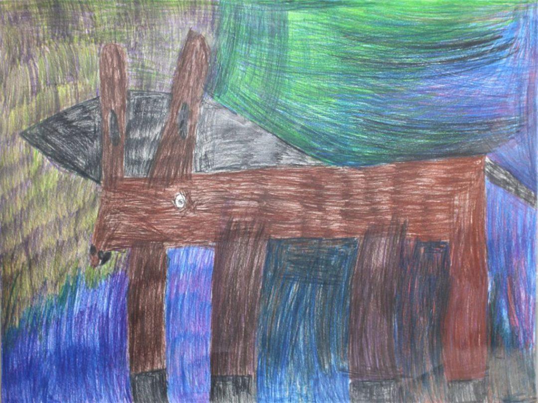 Ludivine Flips, 2017, crayons de couleur sur papier, 55 x 73cm