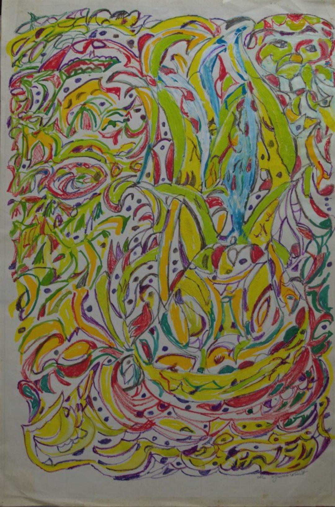 Martha Grünenwaldt, sans titre, nd, dessin aux crayons de couleur et gouache sur papier, 48 x 32 cm