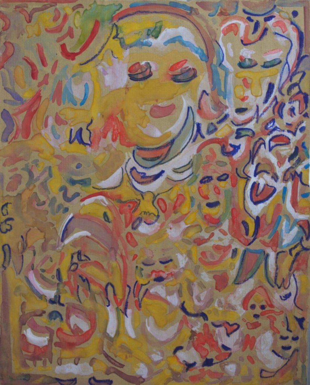 Martha Grünenwaldt, sans titre, nd, dessin au crayon mauve et gouache sur papier, 32 x 25,5 cm
