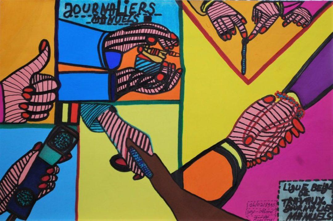 Georges Duesberg, Sans titre, 1995, gouache et marqueur sur papier, 36,5 x 55 cm