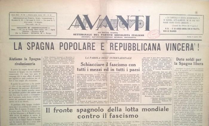 Prima pagina Il Nuovo Avanti! 08.08.1936