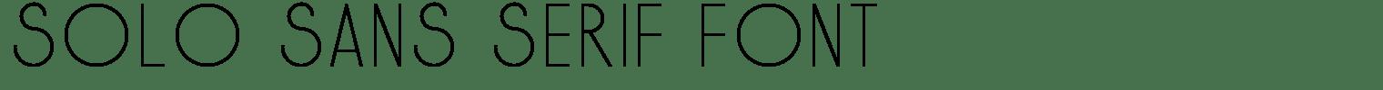 Solo Sans Serif Font