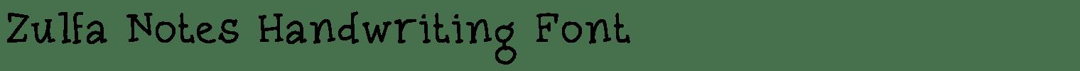 Zulfa Notes Handwriting Font