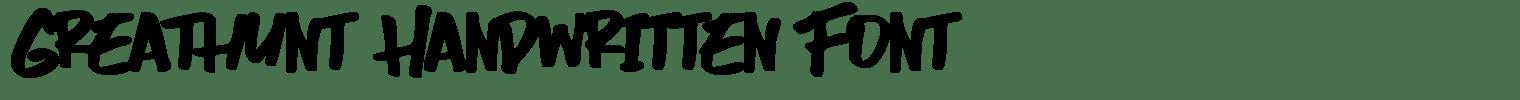 Greathunt Handwritten Font