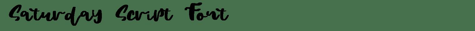Saturday Script Font