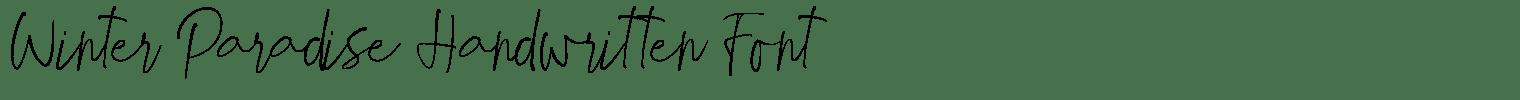 Winter Paradise Handwritten Font