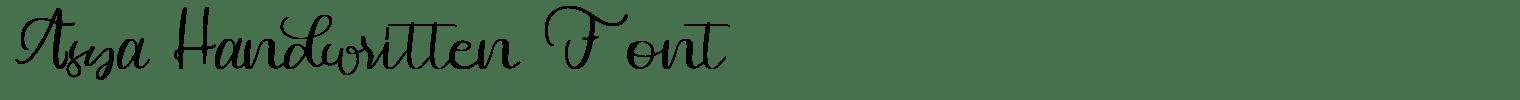Asya Handwritten Font