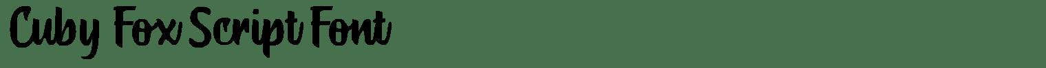 Cuby Fox Script Font