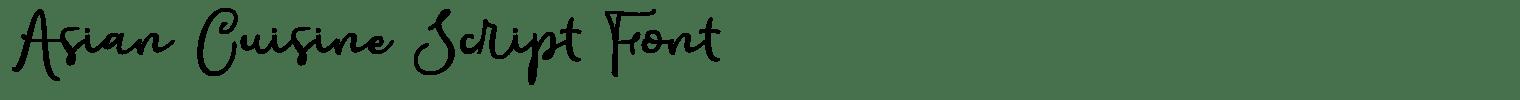 Asian Cuisine Script Font