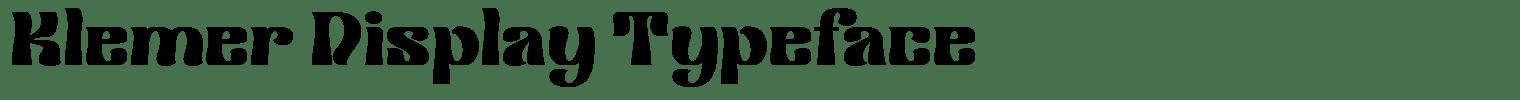 Klemer Display Typeface