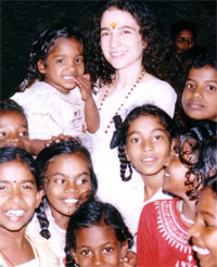 Sadhvi Bhagawati with Children at the Ashram