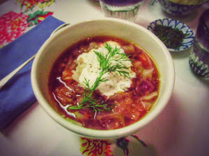 cabbage soup with yogurt dill