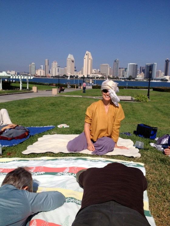 being silly at the bay: napping after a yoga therapy training picnic