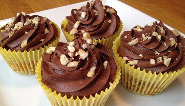 Banana cupcakes with chocolate ganache