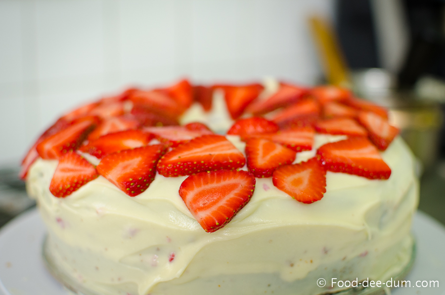 Brown Sugar Cake with White Chocolate Ganache and Strawberries-30