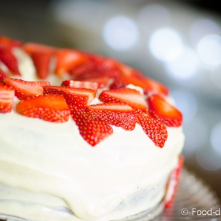 Brown Sugar Cake with White Chocolate Ganache & Strawberries