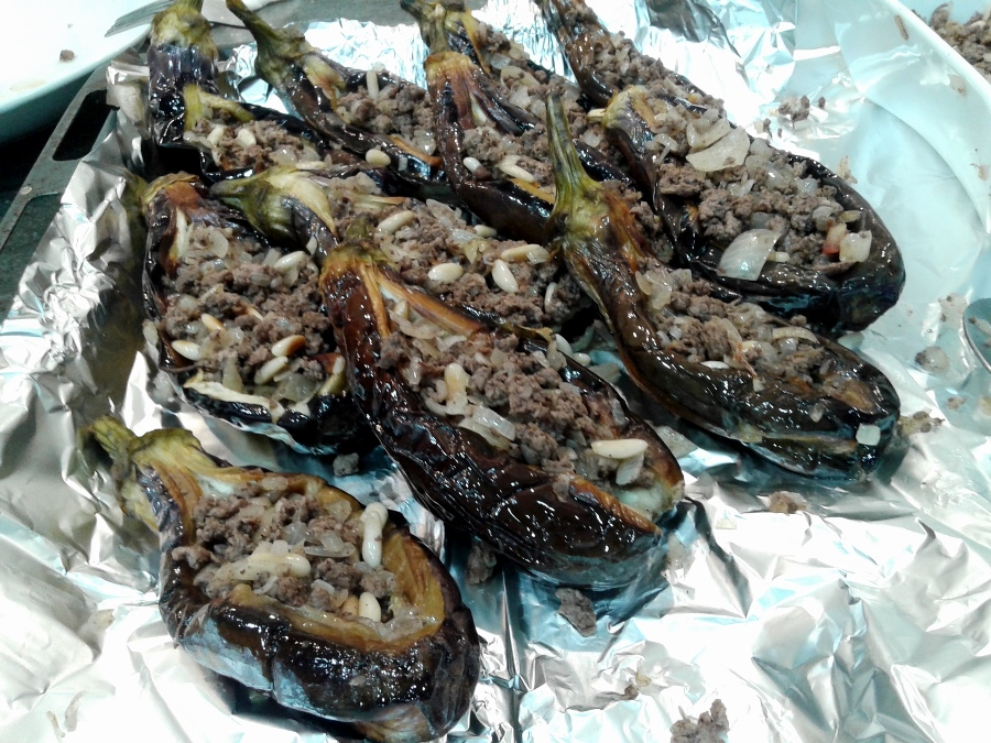 The eggplants are now stuffed!