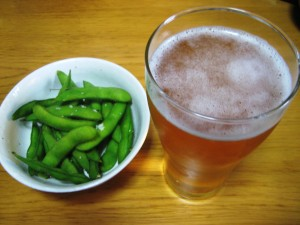 edamame and beer