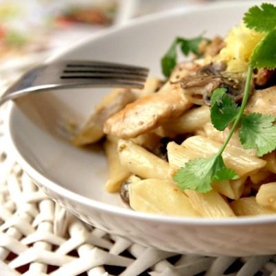 Сытный десерт. Запечённые макароны с грибами