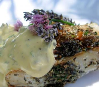 Grilled Sea Bass with home-made Tartar Sauce and Chive Flowers