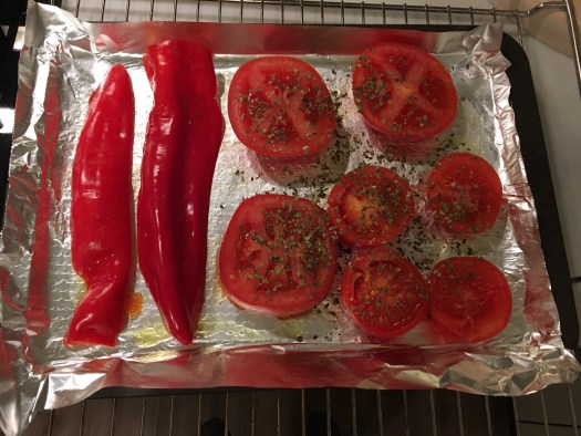 Pepper and tomatoes on the tray