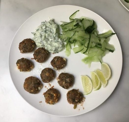 Lamb kofta and tzatziki