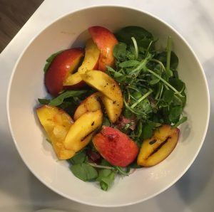 Peaches, ham, salad