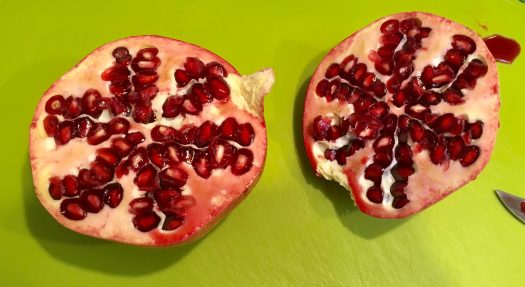 Pomegranate sliced in half