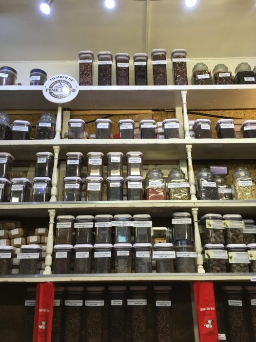 Teas and coffees in the shelves