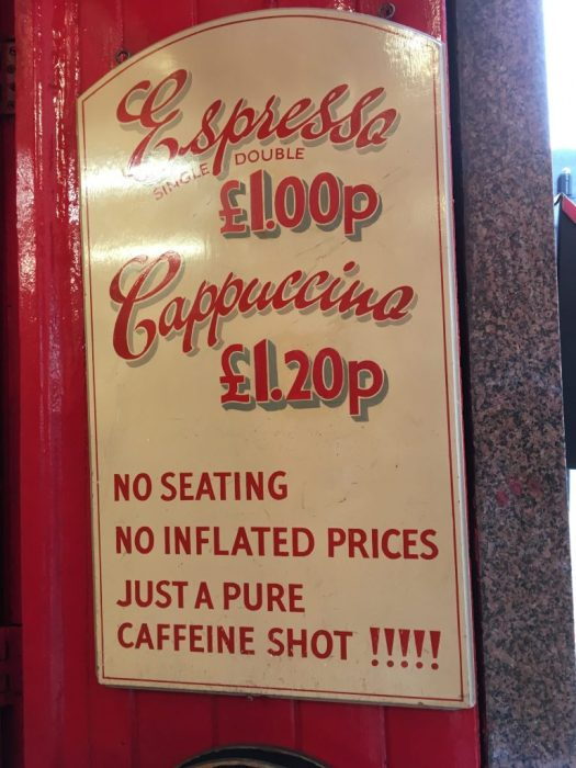 Sign for Espresso £1.00p, Cappuccino £1.20