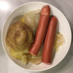 Bollit with German sausages and sauerkraut