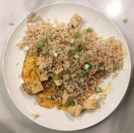 Ma po tofu omelette with brown rice