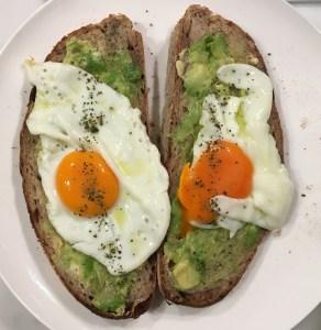 Fried egg on avocado on walnut bread toast (with seaweed)