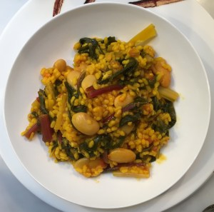 Rice with chard and butter beans