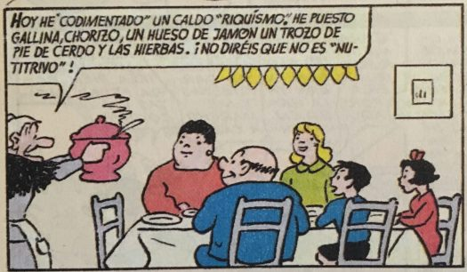 "Scene from Spanish comic ""La familia Ulises"" where they're about to enjoy a home made stew soup"