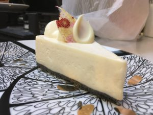 A slice of white sesame cheesecake from Wa Cafe