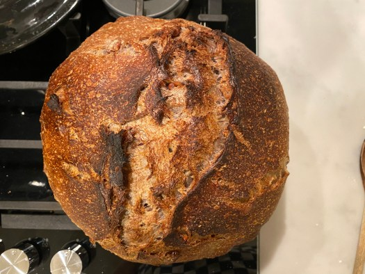 Walnut bread loaf, very round and with a brown crust