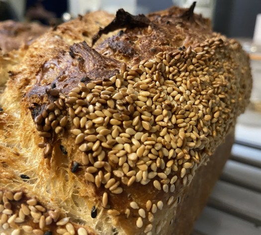 Close up of toasted sesame seeds on the top of a sesame seed bread loaf