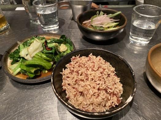 Cornish greens, cucumber & beef curry, brown jasmine rice