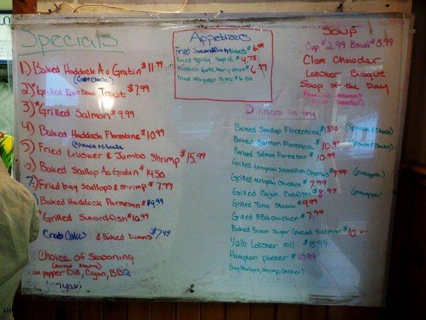 Specials Board - SS Lobster, Fitchburg, MA